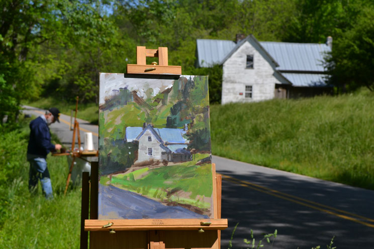 "On location in Franklin, NC. Painting ""Circa 1910"""