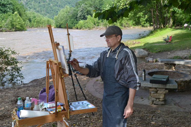 Painting on location at the Nolichucky River, Irwin, TN.