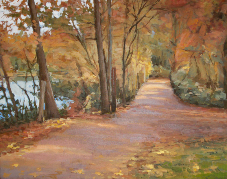 Enka Lake Biltmore Lake View Painting of Fall Leaves