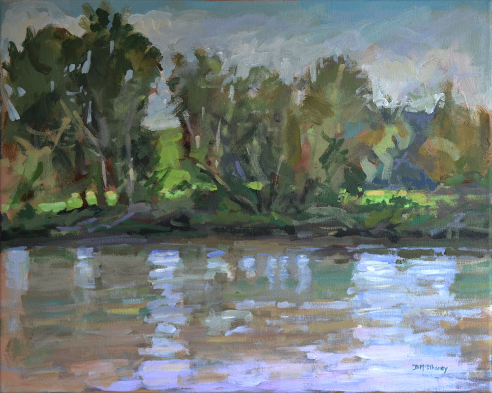 """Across The River (to Biltmore)"" - acrylic on canvas, 16 x 20 in."