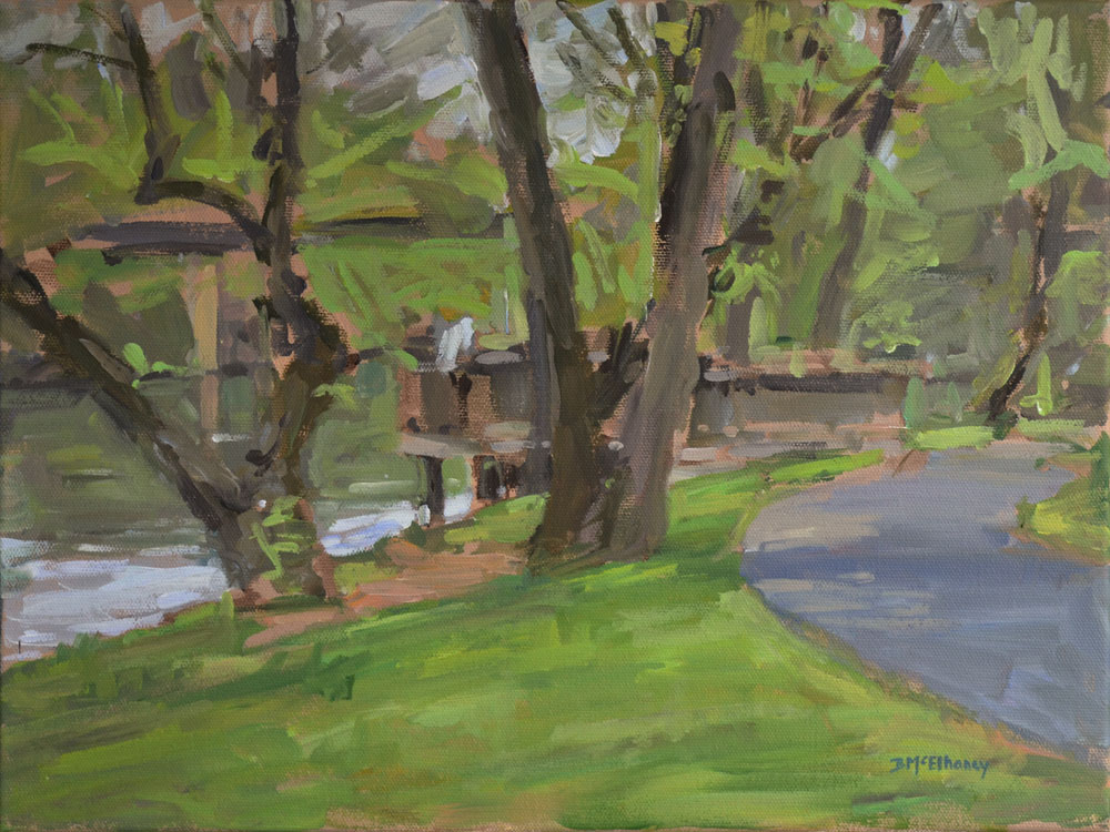 """French Broad River Park"" - acrylic on canvas, 12 x 16 in."