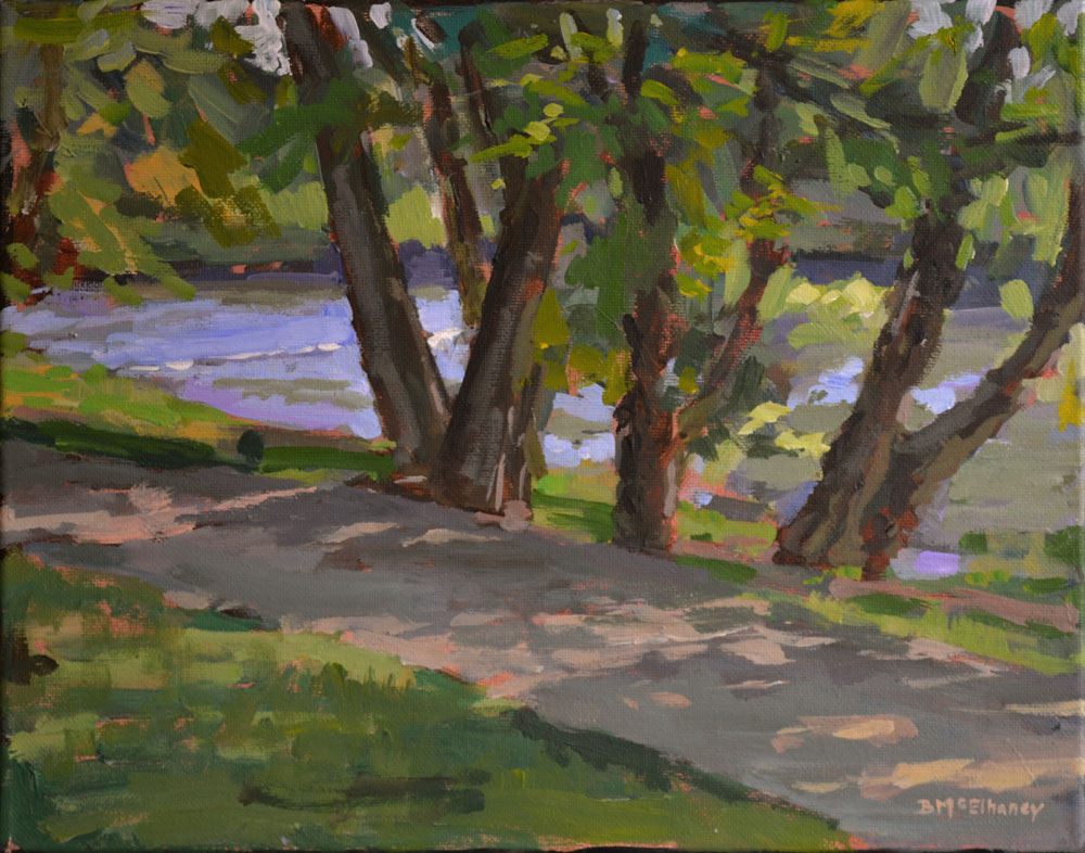 Path at French Broad River Park, acrylic on canvas, 11 x 14 in.