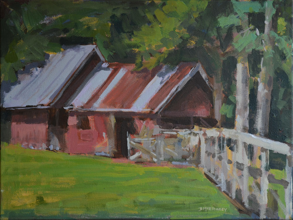 """Goat Barn at Highland Lake"" - acrylic on canvas, 12 x 16 in."