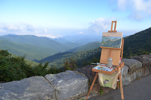 My easel set up at Craggy Overlook on the Blue Ridge Parkway.