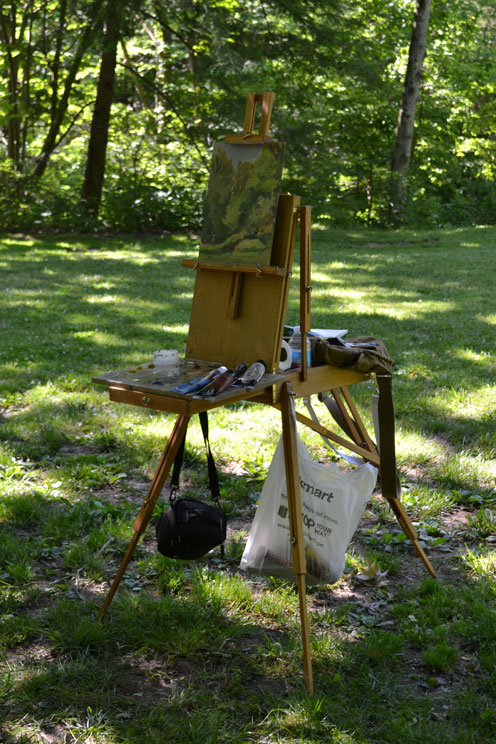 easel setup at Botanical Gardens Asheville