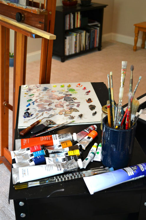 My One Thing, easel, palette, art studio