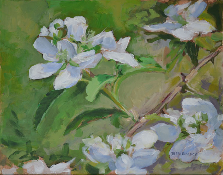 Blackberry Blossoms Nature Painting