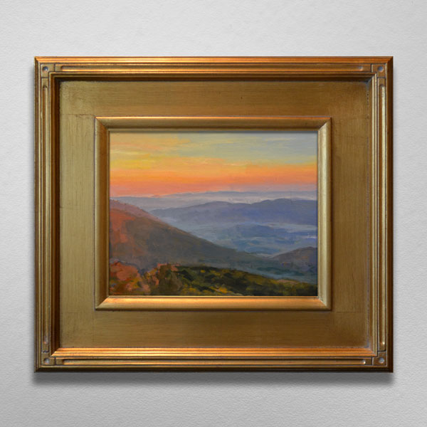 Painting of Blue Ridge Mountains Sunset in Gold Frame