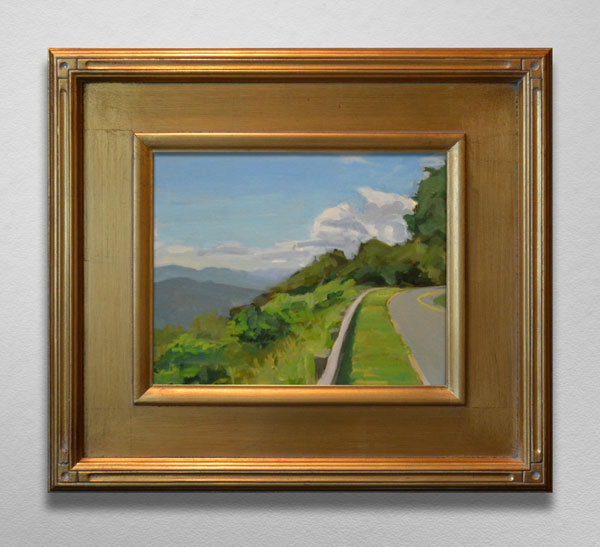 Painting of Blue Ridge Parkway Overlook in Gold Frame
