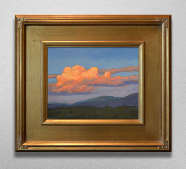 Painting of Asheville Clouds at Sunset in Golden Frame
