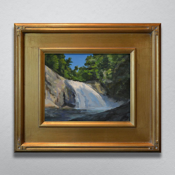 Painting of Harper Creek Falls in a Gold Frame