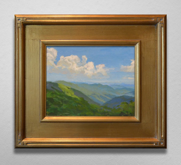 Painting of View from Craggy Blue Ridge Parkway Gold Frame