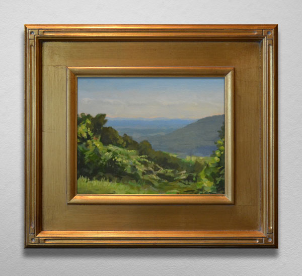 Painting of view from Blue Ridge Parkway in gold frame